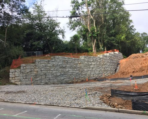finished retaining wall in Weaverville, NC